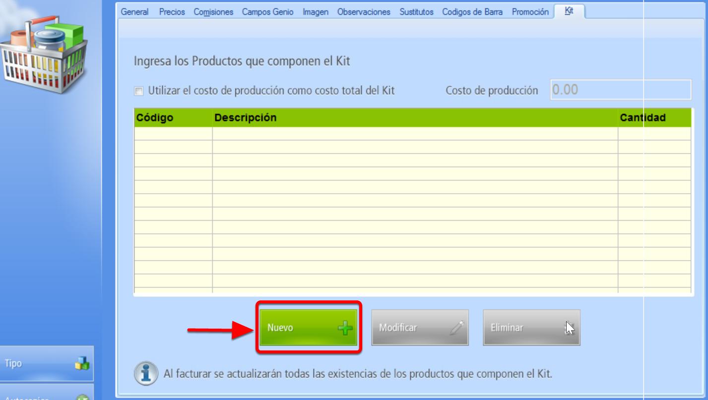 """Pestaña Kit - Botón """"Nuevo"""" agrega un producto integrante del kit"""