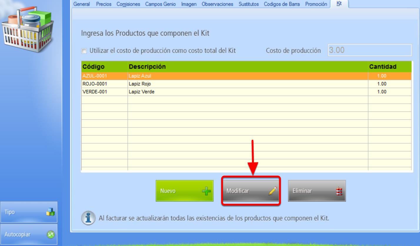 "Ventana integrantes del Kit botón ""Modificar"" cantidad de cada producto integrante del Kit"