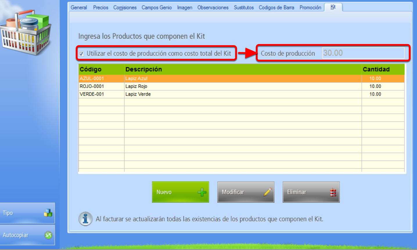 Casilla de verificación que al activarse convierte al costo de producción en el costo del Kit