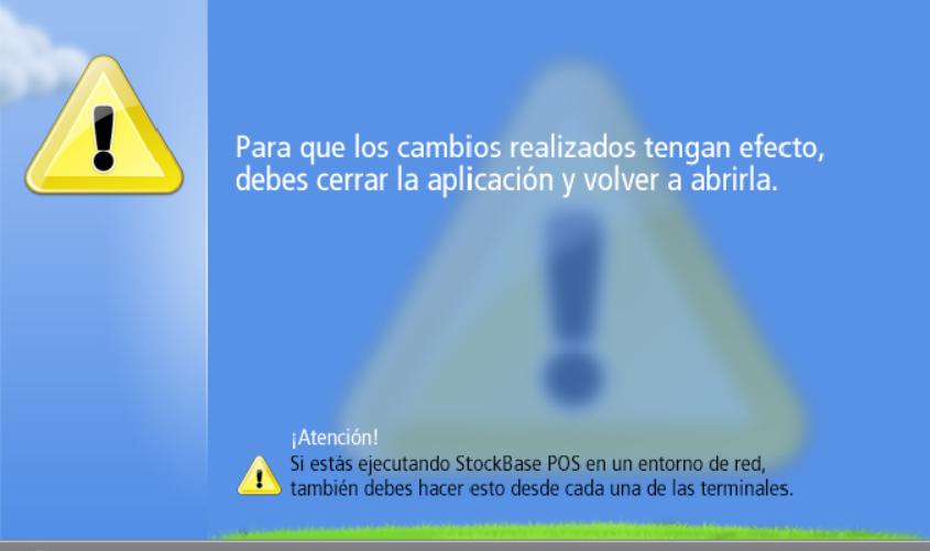 Ventana que solicita cerrar la aplicación para guardar los cambios en configuración