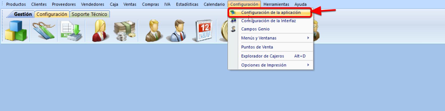 """Debes ir al menú de configuración y seleccionar """"Configuración de la aplicación"""""""