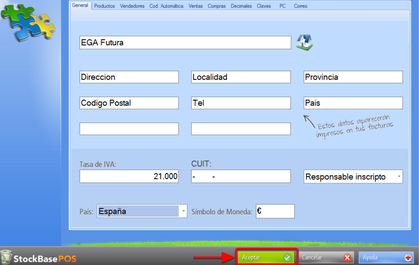 Presiona el Botón Aceptar para que los cambios se graben en la base de datos