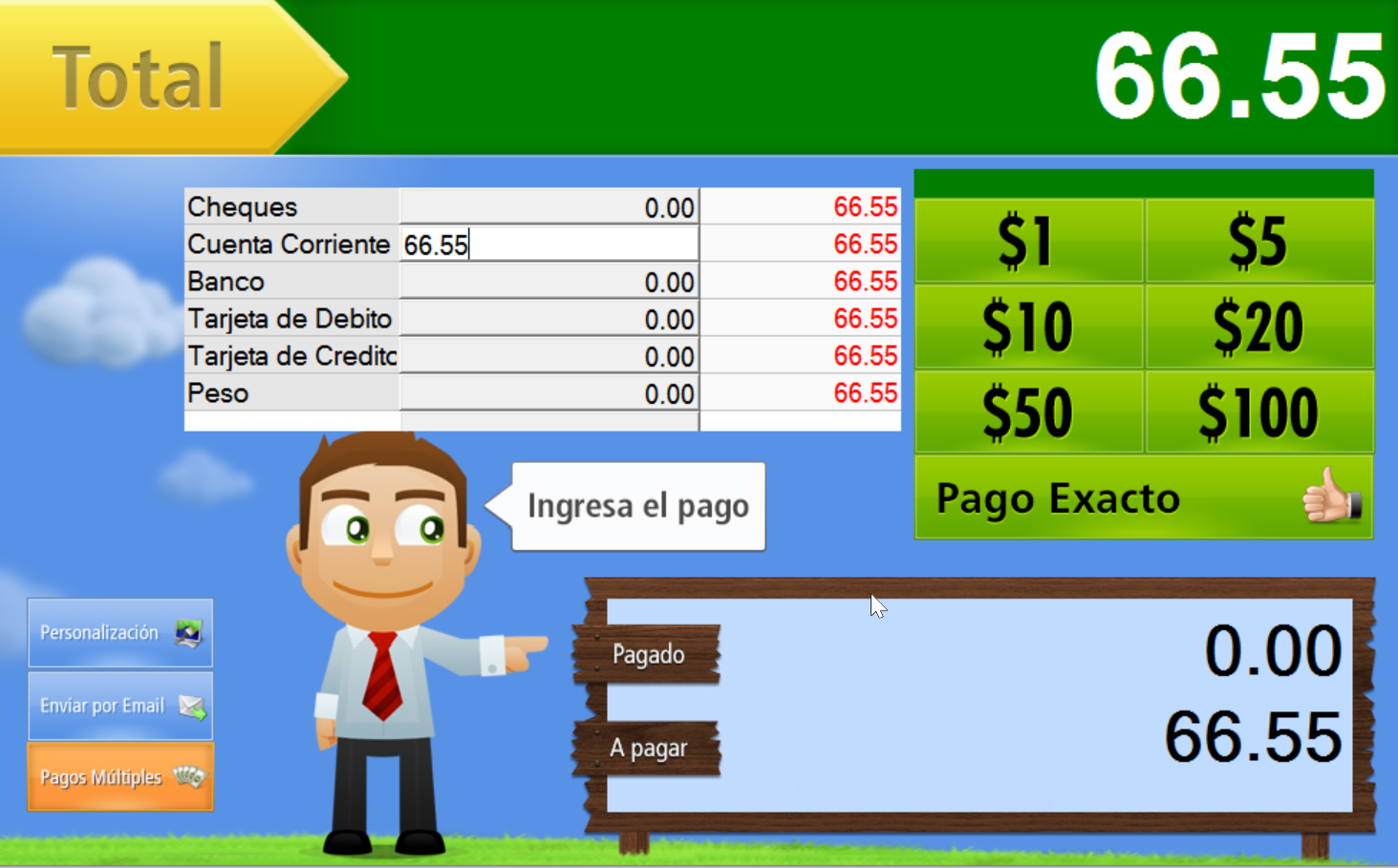 Escribe el monto que te pagará tu cliente a Cuenta Corriente