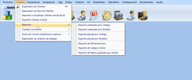La imagen muestra los Reportes disponibles para el menú de Clientes