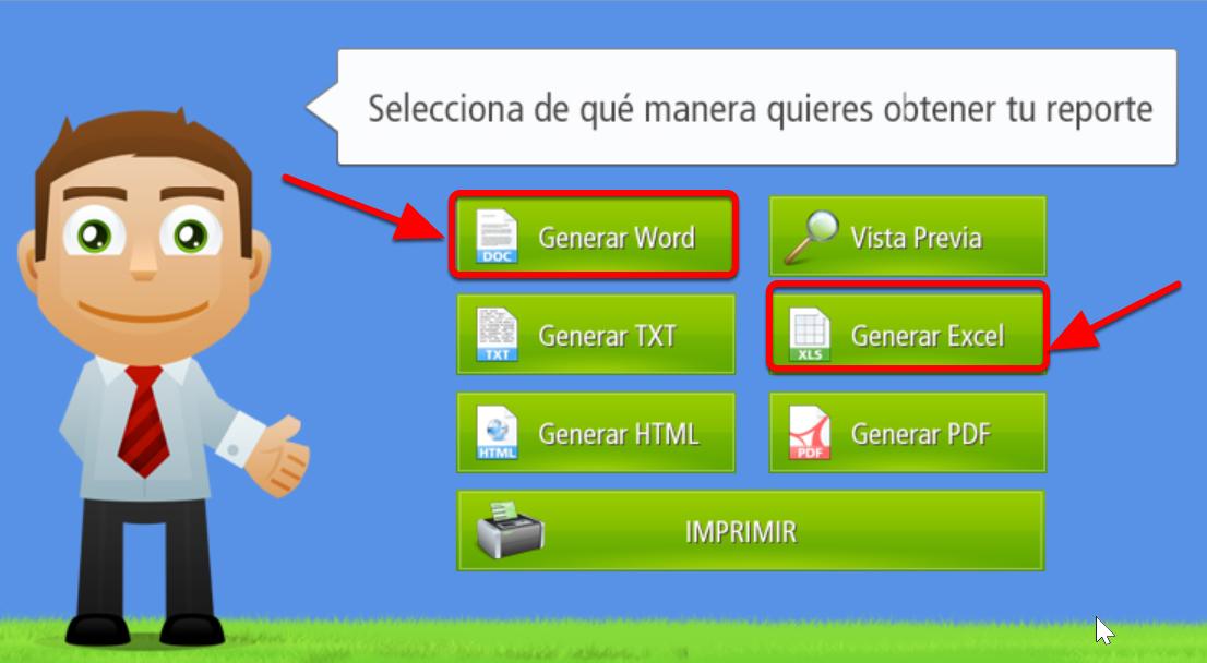 Estos son los botones que permiten generar Reportes en formatos MS Word o MS Excel