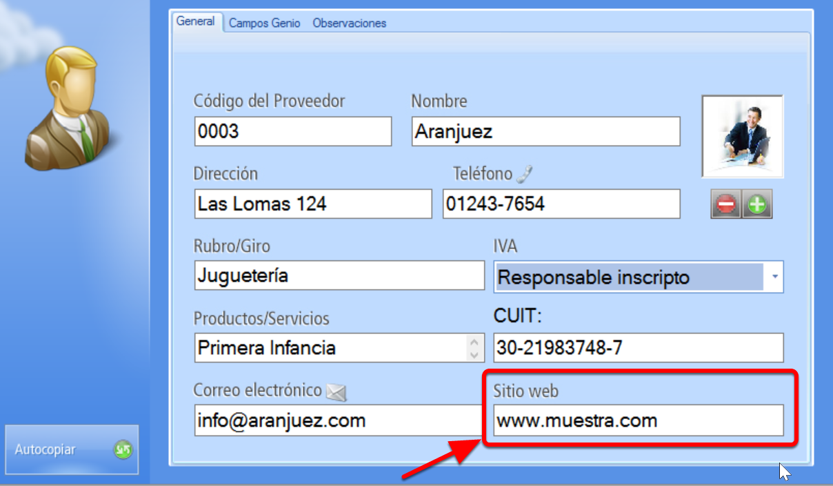 Sitio web proveedores