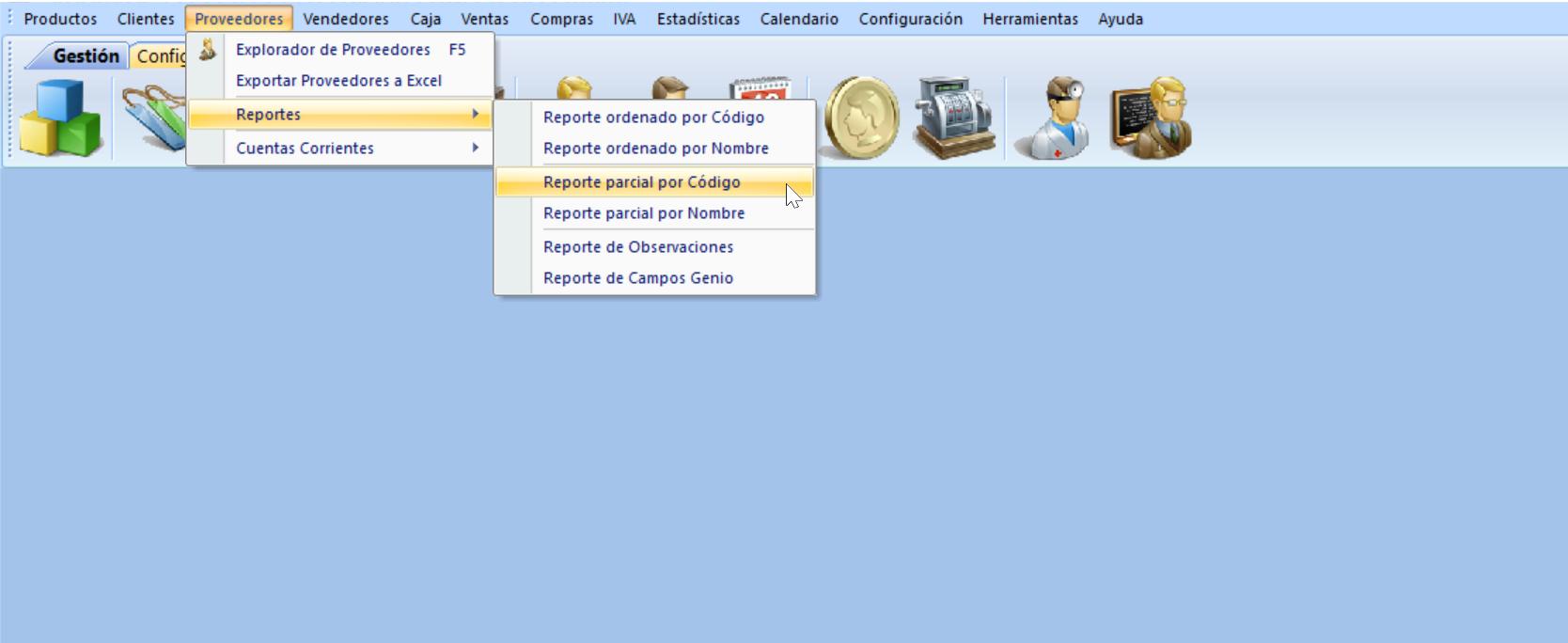 Menú de proveedores reporte parcial ordenado por código de proveedor
