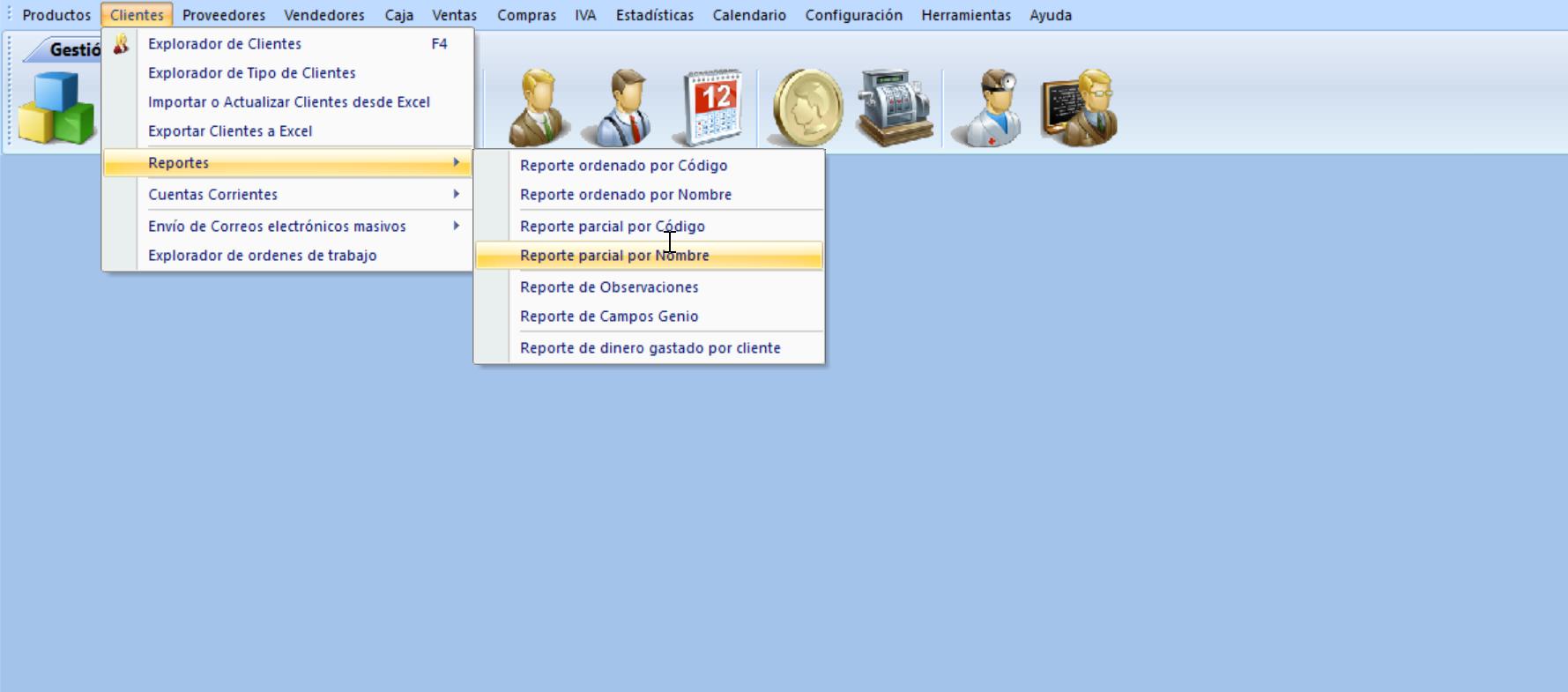 Solicitando un Reporte parcial por Nombre de cliente