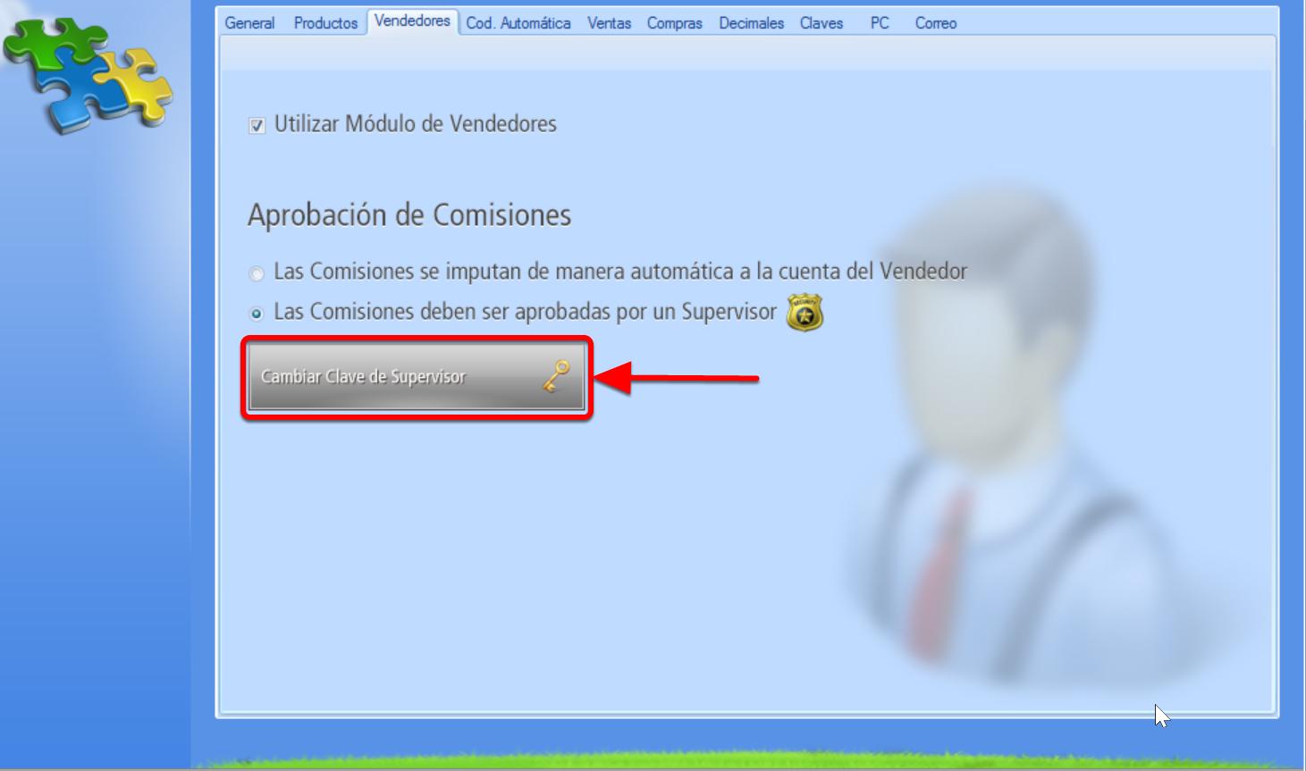 Botón para modificar Contraseña de Supervisor de Ventas habilitado