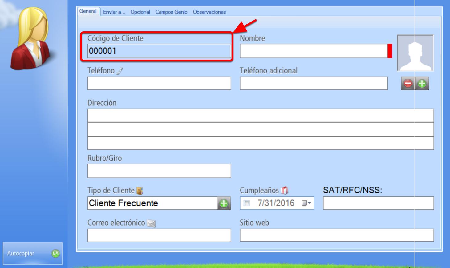Registro de Nuevo Cliente con codificación automática - Campo código bloqueado por asignación automática de código