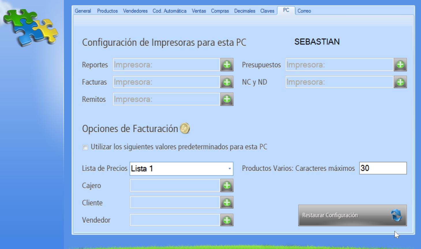 Pestaña PC donde establecer parámetros para el módulo de facturación