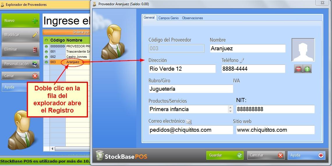 Se abre el registro del proveedor para editarse desde sus pestañas y campos