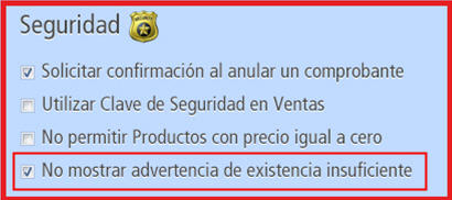 Advertir existencia insuficiente de producto al facturar
