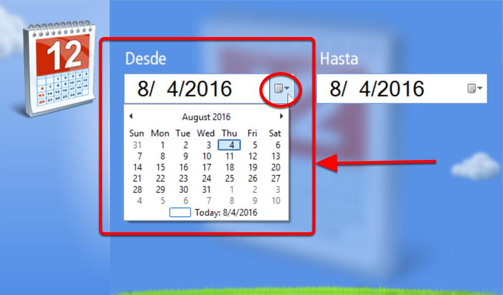 """Puedes ajustar las fechas desplegando las opciones """"Desde"""" y """"Hasta"""""""