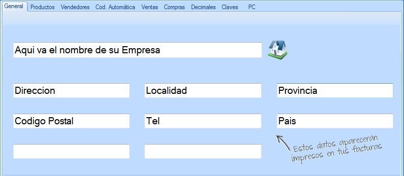 Completa los datos de tu empresa que aparecerán impresos en los comprobantes de venta