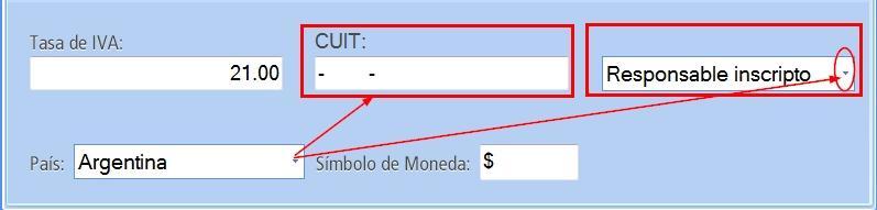 En modalidad Argentina debes completar el campo CUIT y responsabilidad frente al IVA