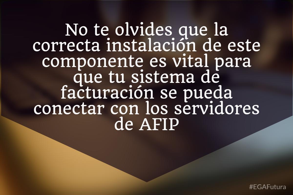 No te olvides que la correcta instalación de este componente es vital para que tu sistema de facturación se pueda conectar con los servidores de AFIP.