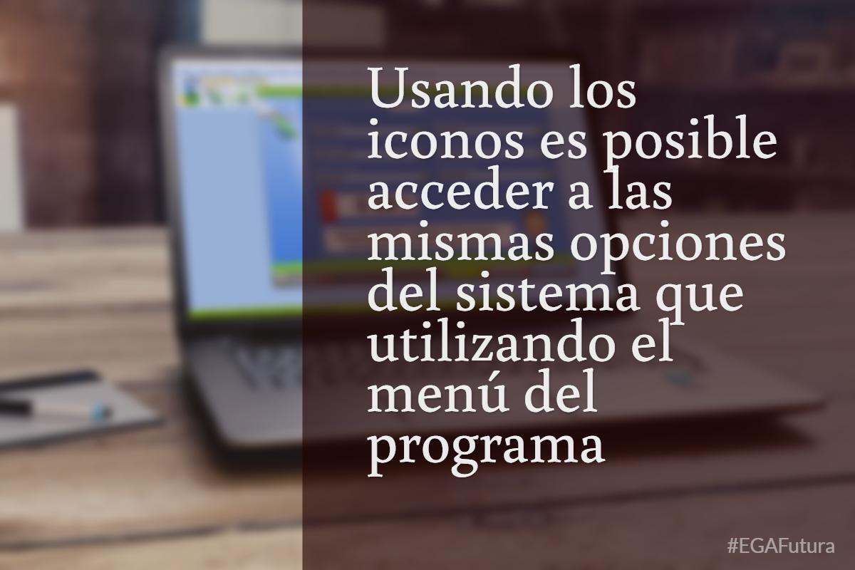 Usando los iconos es posible acceder a las mismas opciones del sistema que utilizando el menú del programa