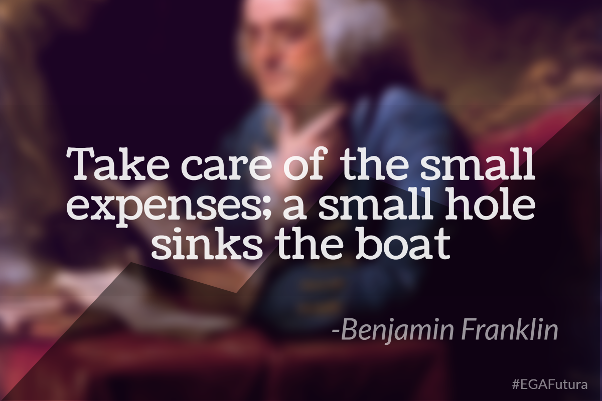 Take care of the small expenses, a small hole skins the boat