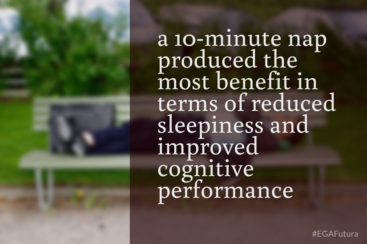 A 10-minutes nap prodiced the most benefit in terms of reduced sleepiness and improved cognitive performance