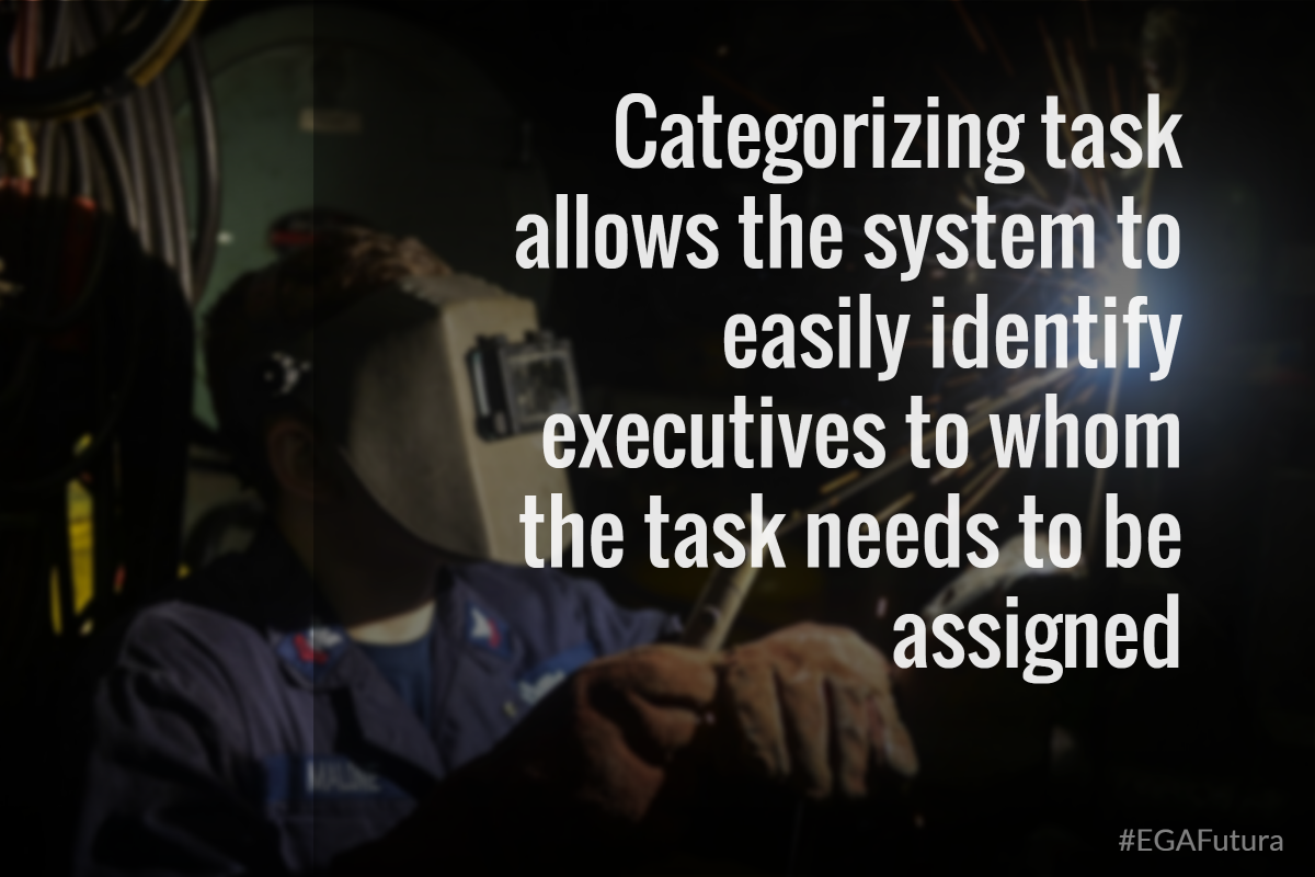 Categorizubg task allows the system to easiy identify executives whom the task need to be assigned