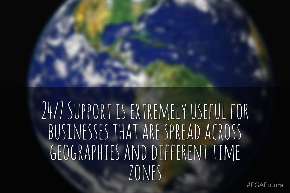 24/7 Support is extremely useful for business that are spread across geographies and different time zones