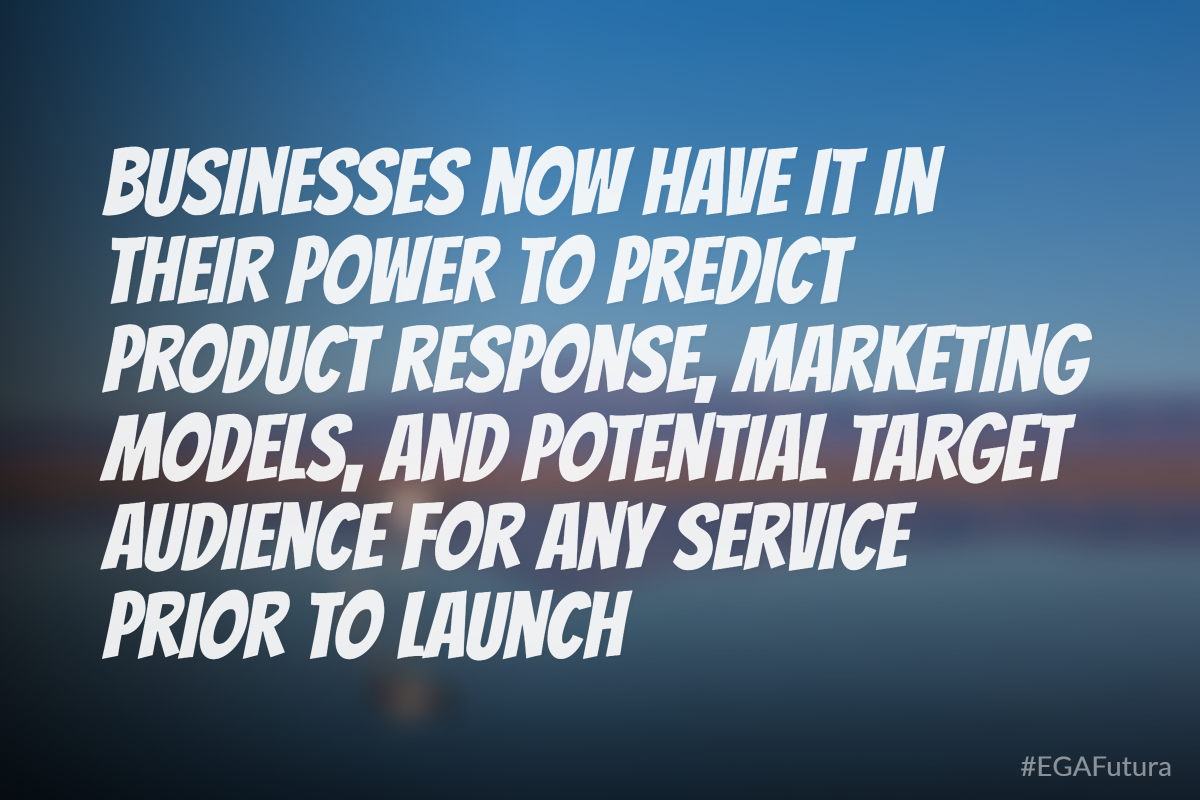 Businesses now have it in their power to predict product response, marketing models, and potential target audience for any service prior to launch