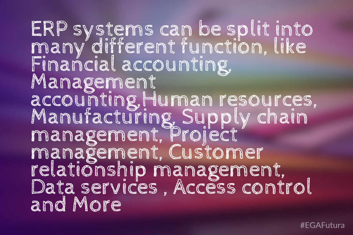 ERP system can be split into many different function, like financial accounting, management accounting, human resources, manfacturing, supplu chain management, project management, customer relationship management, data services, access control and more