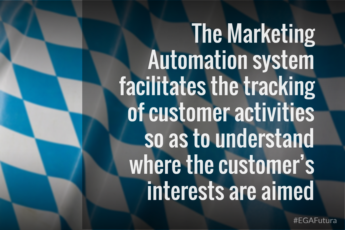 The Marketing Automation system facilitates the tracking of customer activities so as to understand where the customer's interests are aimed