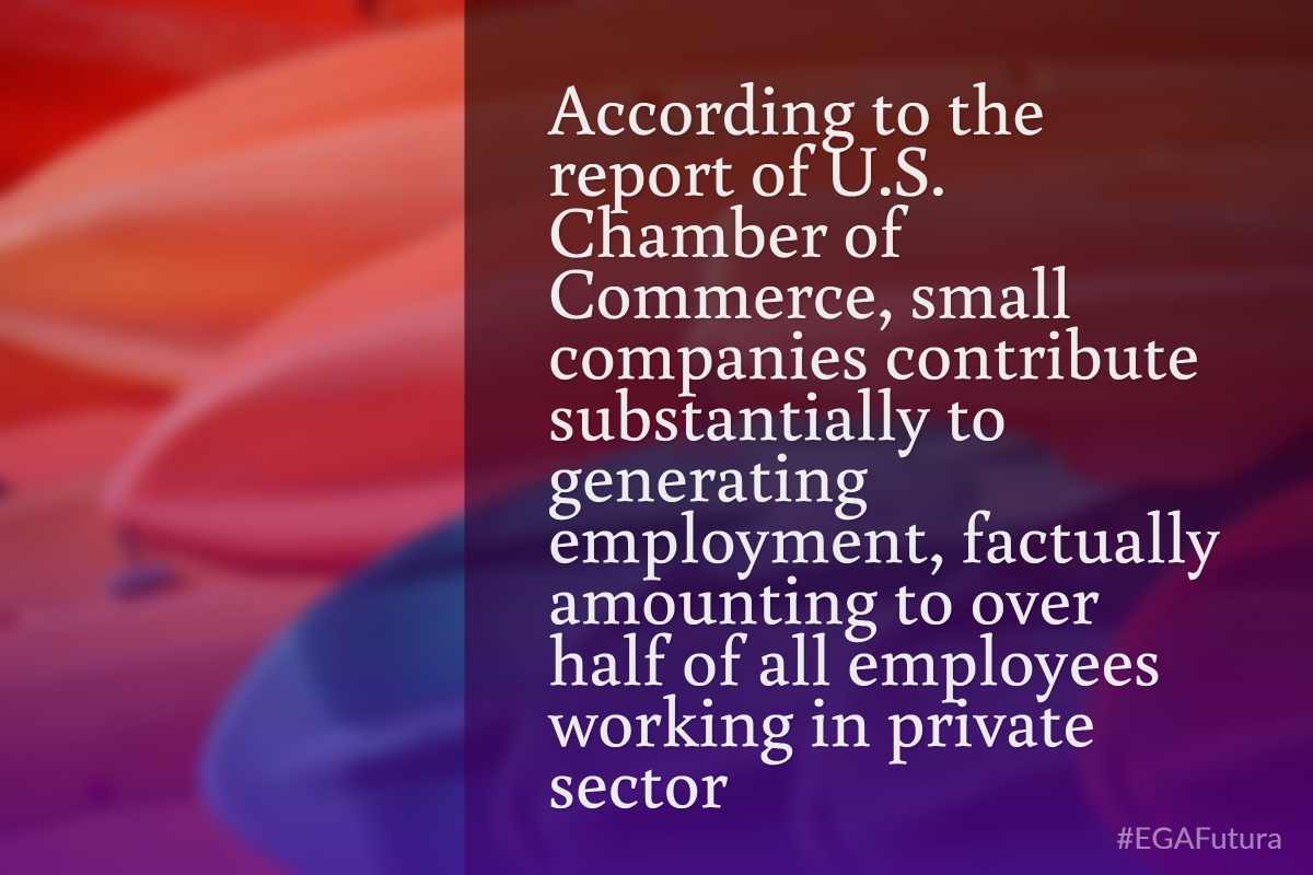 According to the report of U.S. Chamber of Commerce, small companies contribute substantially to generating employment, factually amounting to over half of all employees working in private sector.