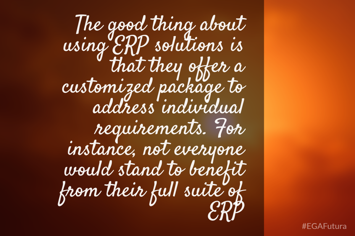The good thing about using ERP solutions is that they offer a customized package to address individual requirements. For instance, not everyone would stand to benefit from their full suite of ERP.