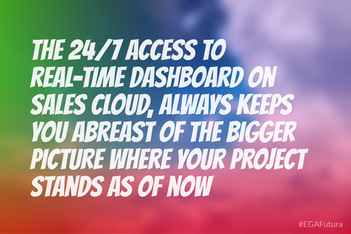 The 24/7 access to real-time dashboard always keeps you abreast of the bigger picture where your project stands as of now