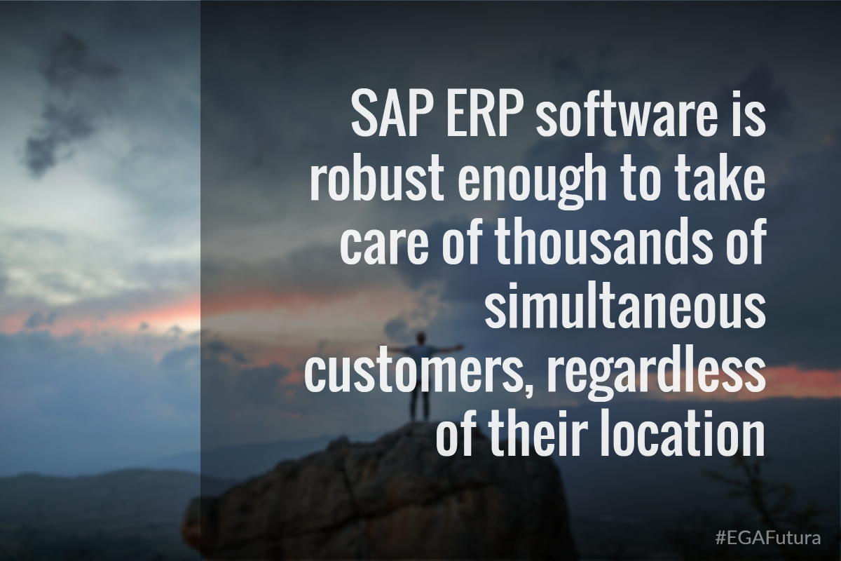 SAP ERP software is robust enough to take care of thousands of simultaneous customers, regardless of their location