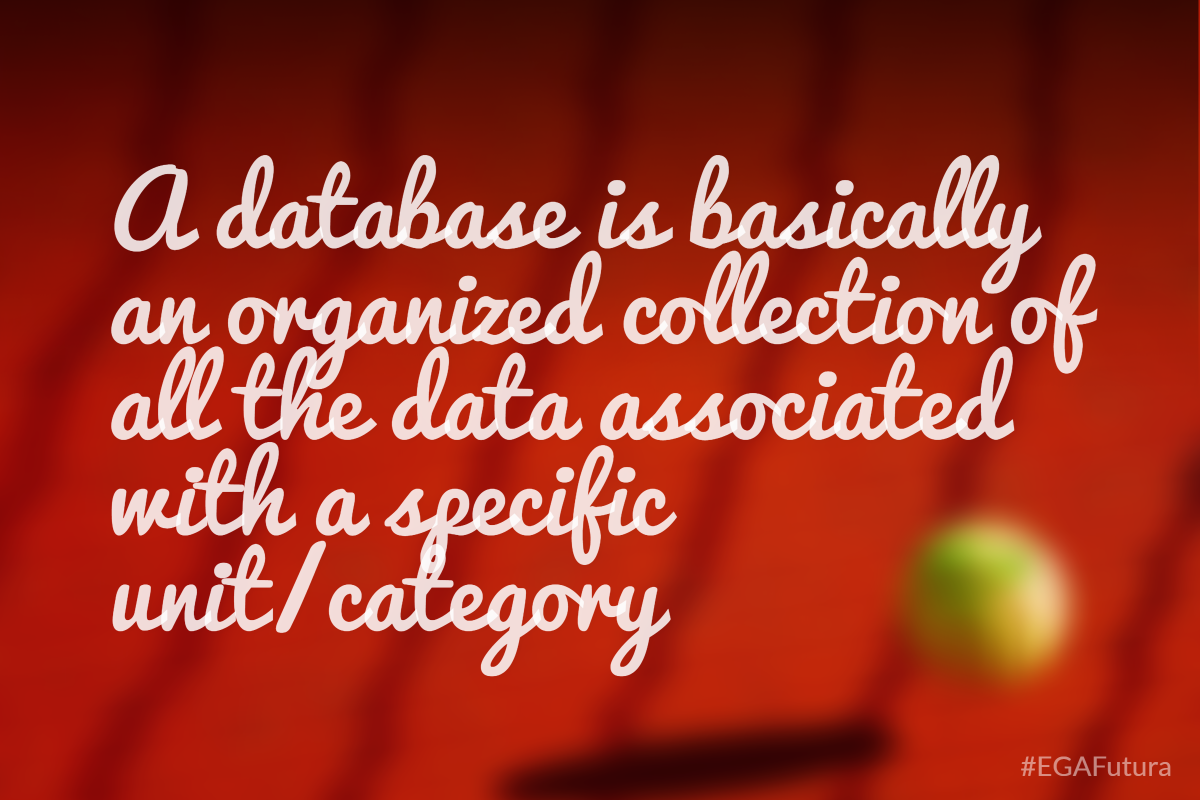 A database is basically an organized collection of all the data associated with a specific unit/category.