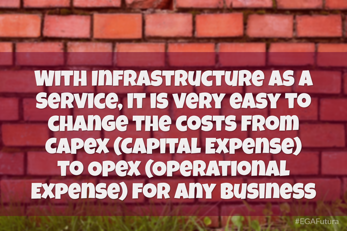 With Infrastructure as a Service, it is very easy to change the costs from Capex (Capital Expense) to Opex (Operational Expense) for any business.