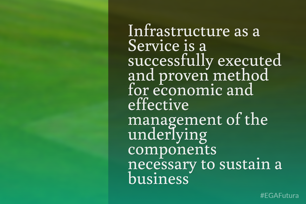 Infraestructure as a Service is a successfully executed and proven method for economic and effective management of the underlying components necessary to sustain a business.