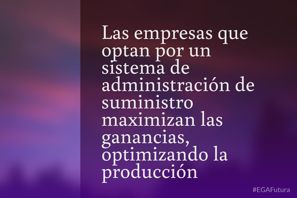 Las empresas que optan por un sistema de administración de suministro mazimizan las ganancias, optimizando la producción
