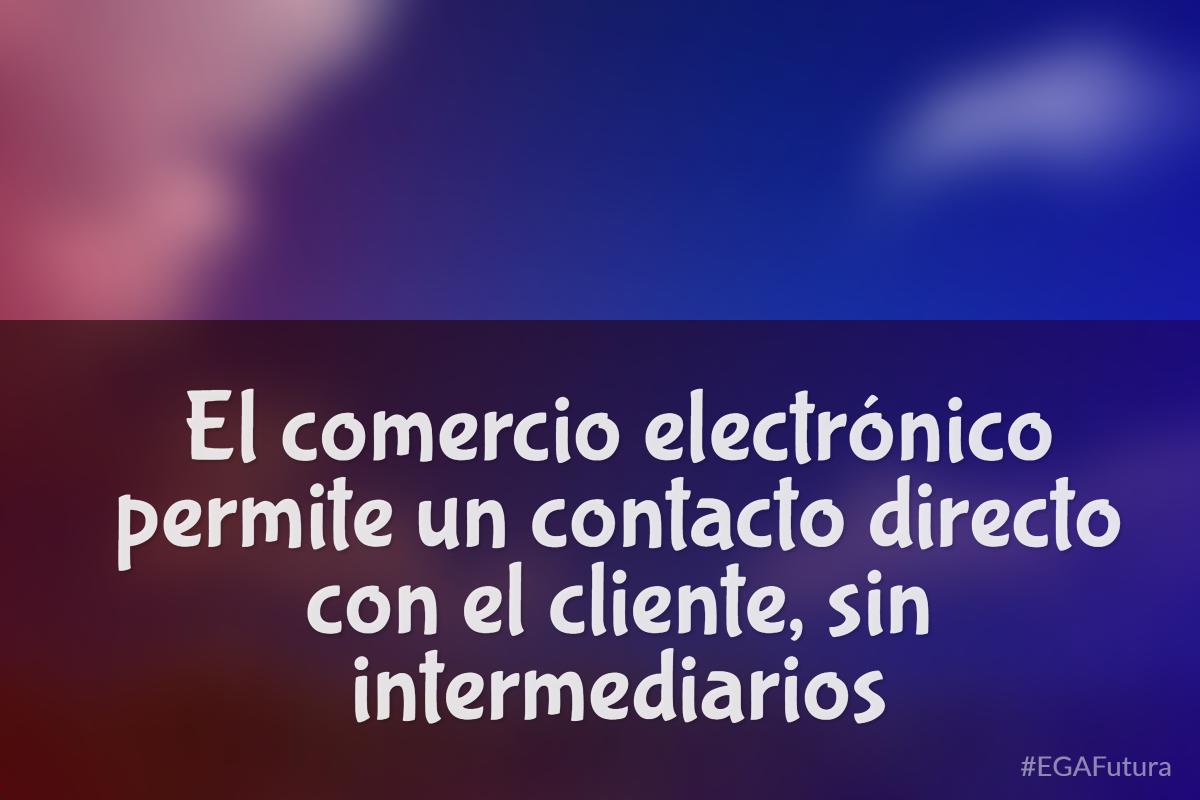 El comercio electrónico permite un contacto directo con el cliente. sin intermediarios