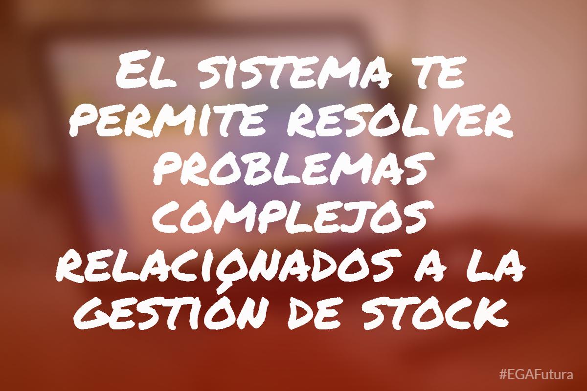 El sistema te permite resolver problemas complejos relacionados a la gestión de stock