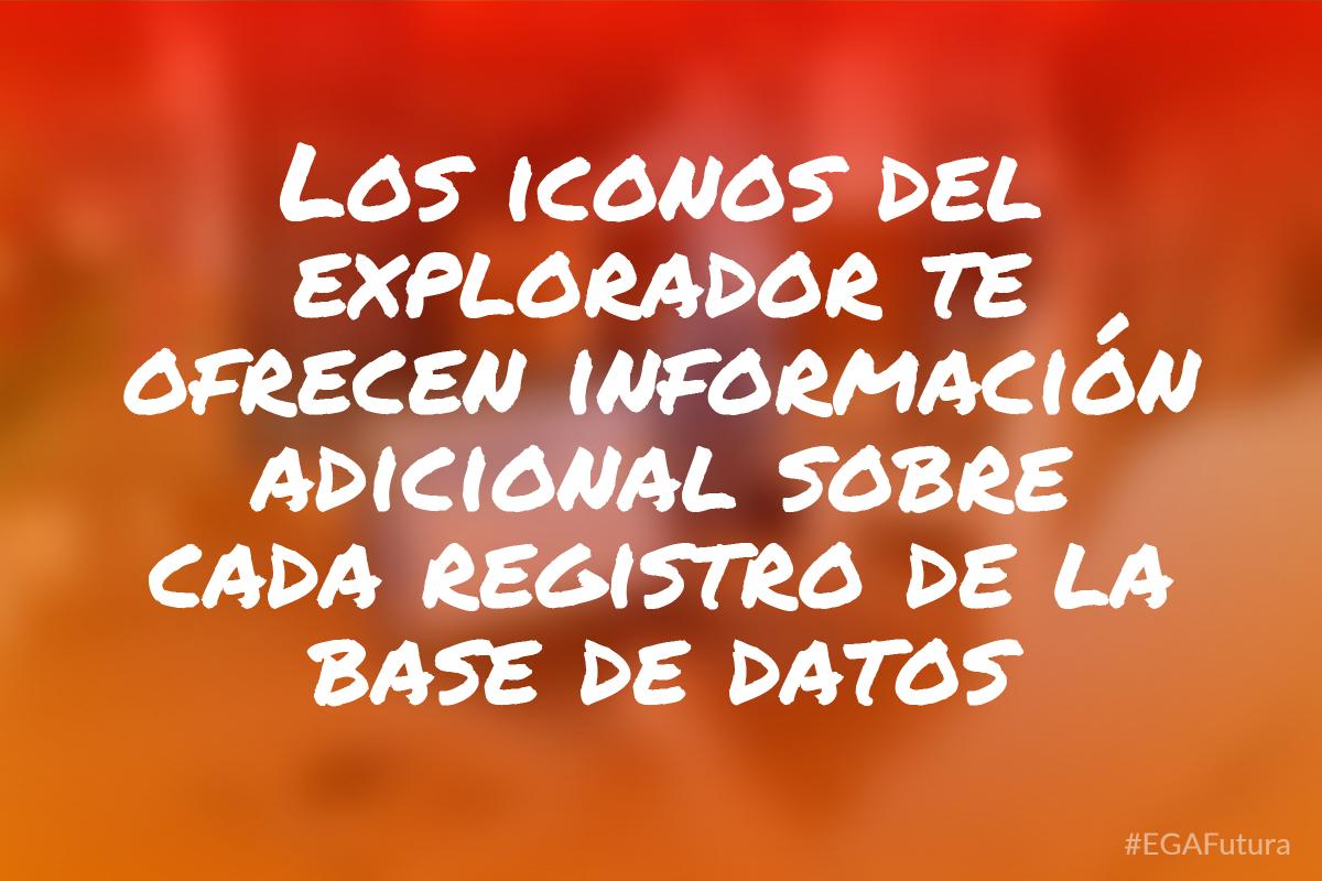 Los iconos del explorador te ofrecen información adicional sobre cada registro de la base de datos