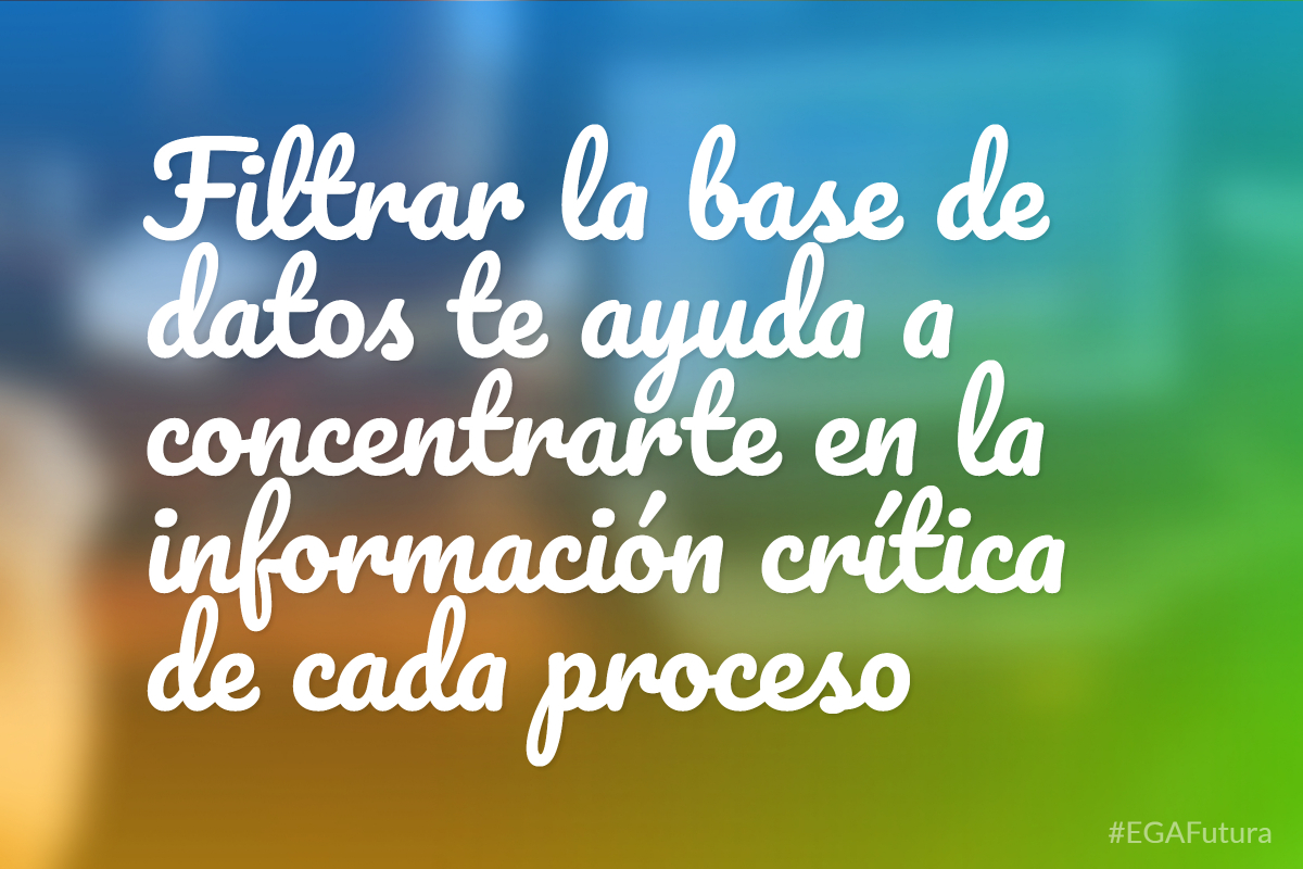 Filtrar la base de datos te ayuda a concentrarte en la información crítica de cada proceso
