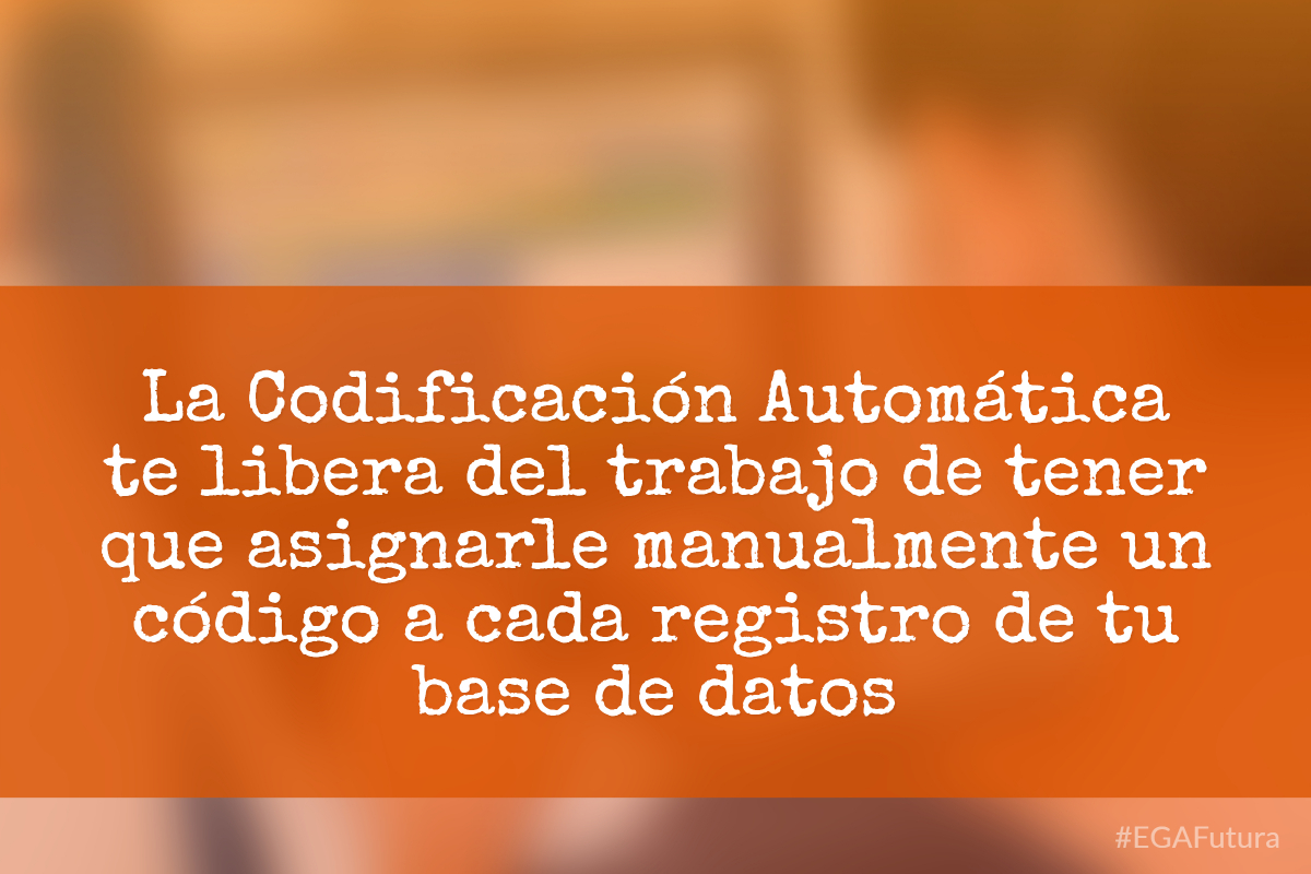 La Codificación Automática te libera del trabajo de tener que asignarle manualmente un código a cada registro de tu base de datos