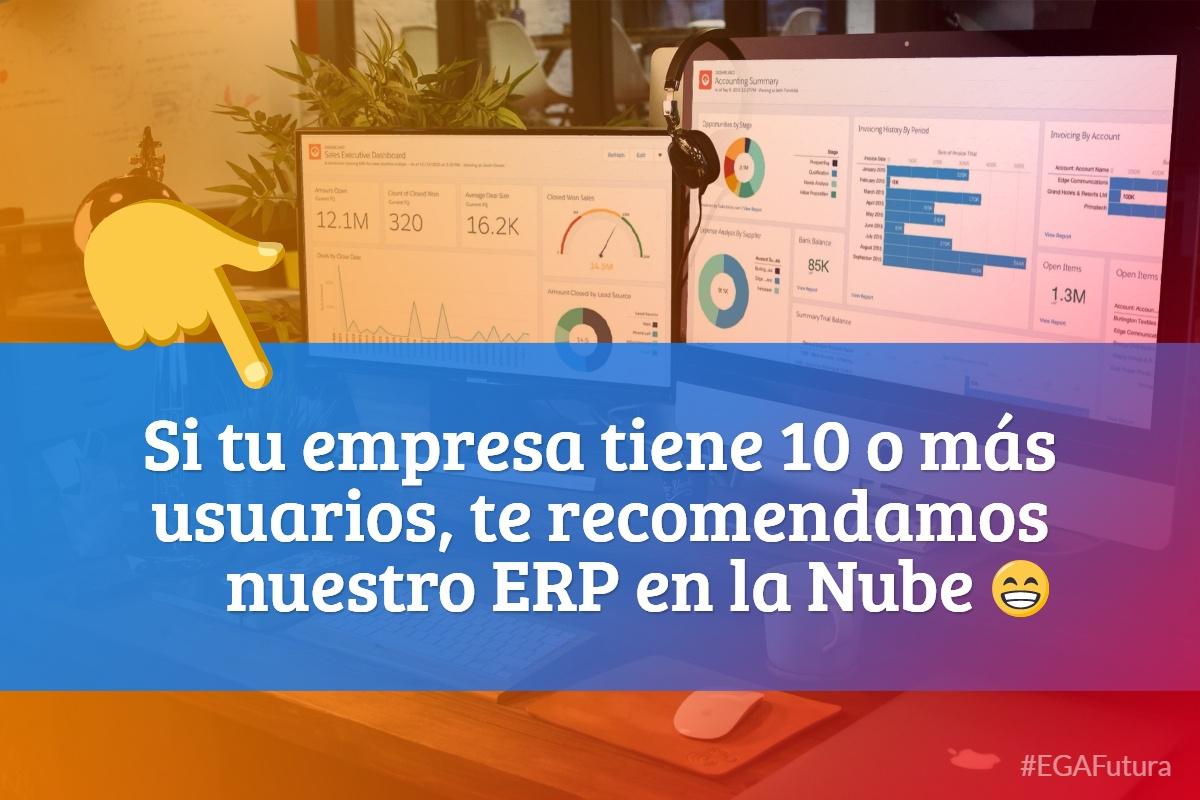 Si tu empresa tiene 10 o más usuarios, te recomendamos nuestro ERP en la Nube