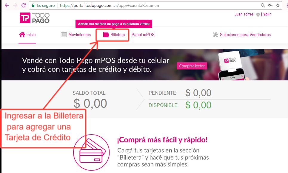 Presiona el icono Billetera para agregar una Tarjeta de Crédito