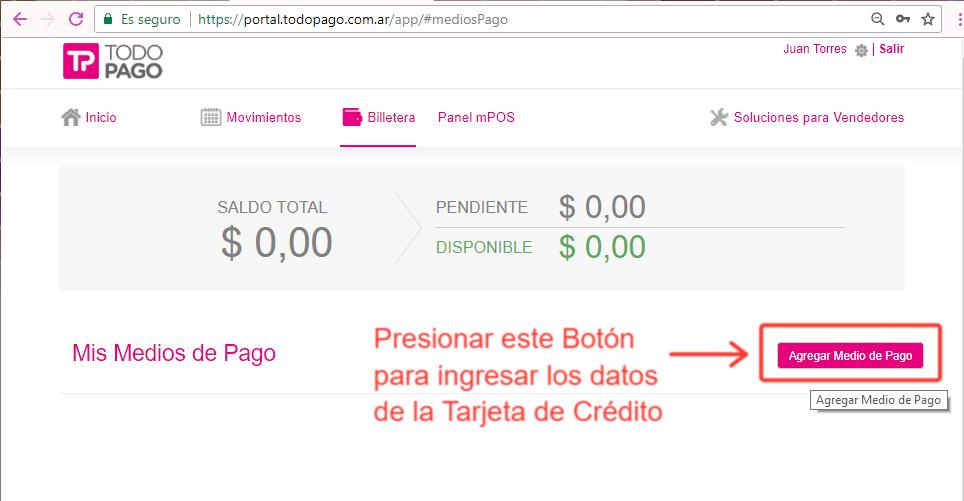 """Presiona el Botón: """"Agregar Medio de Pago"""" allí podrás cargar los datos de tu Tarjeta"""