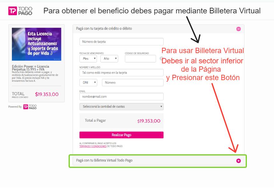 Debes dirigirte al sector inferior de la Pantalla donde aparece la opción Pagar con Billetera Virtual