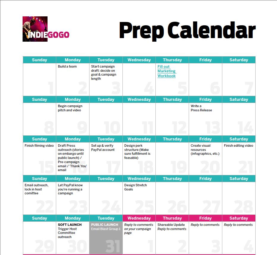 Kalendar za pripremu crowdfunding kampanja