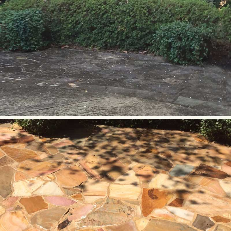 A raleigh stone pathway gets restored with pressure washing