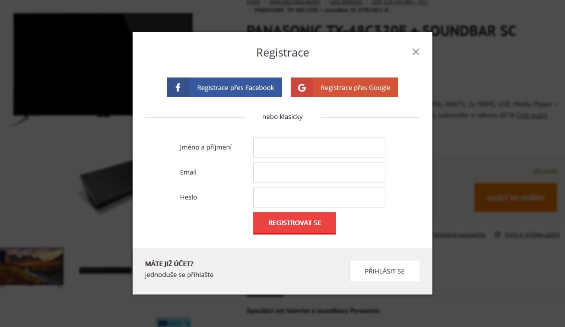 Registrace do eshopu