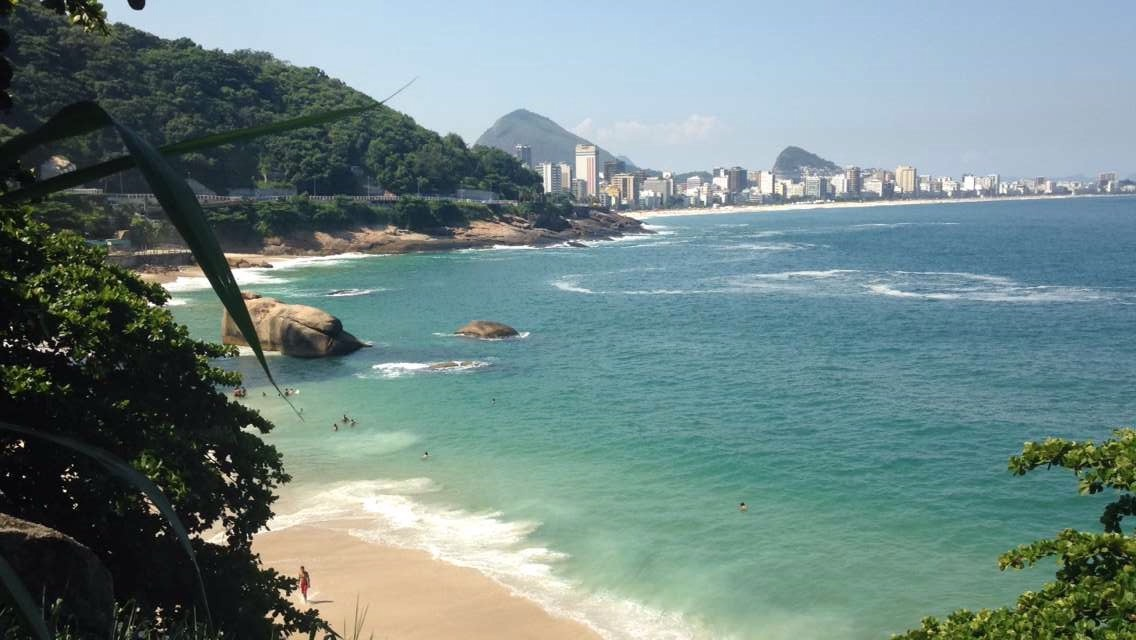 Calm and majestic Vidigal beach, while in the background there is Ipanema beach